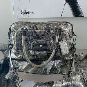 Coach Silver Snakeskin Satchel Handbag